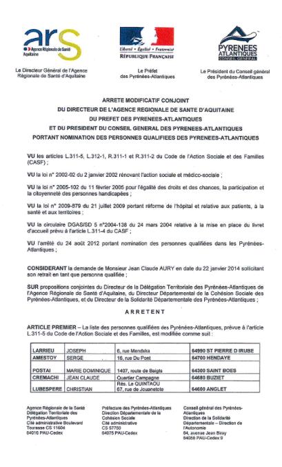 iste des personnes qualifiées des Pyrénées-Atlantiques prévue à l'article L.311-5 du code de l'Action sociale et des familles.